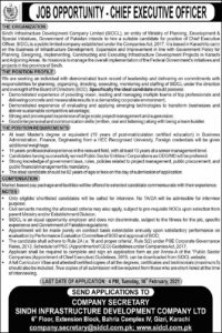 SIDCL Jobs 2021, Sindh Infrastructure Development Company for Chie Executive Officer