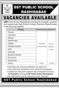 SST Public School Rashidabad Jobs 2021 for Teaching Male-Female