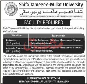 STMU Islamabad Jobs 2021 for Professor in Shifa Tameer e Millat University