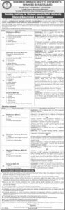 Shaheed Benazir Bhutto University Jobs 2021 for Teaching Staff Professor, Lecturer