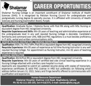 Shalamar Hospital Nursing College Jobs 2021, SIHS Employment Opportunities