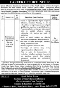Special Education Department Punjab Jobs 2021 Lahore for Curriculum Assessment Specialist