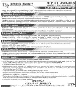 Sukkur IBA University Jobs 2021 STS for Assistant Engineer Civil Application Form Download
