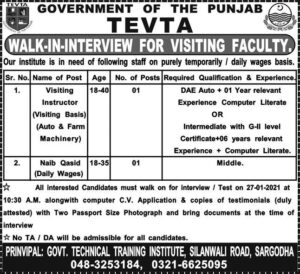 TEVTA Jobs 2021 in Punjab for Visiting Faculty for Visiting Instructor