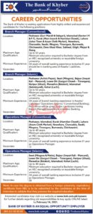 The Bank of Khyber BoK Jobs 2021 for Branch Manager, Operation Manager
