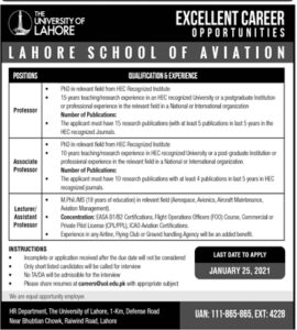 UOL Jobs 2021 Advertisement for Lecturer, Professor The University of Lahore Apply Online