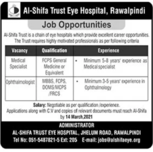 Al Shifa Trust Eye Hospital Jobs 2021 at Rawalpindi