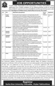 Bacha Khan University Charsadda BKUC Jobs 2021 For Project Manager