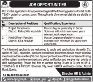 Balochistan Education Foundation BEF Jobs 2021 for Field Officer