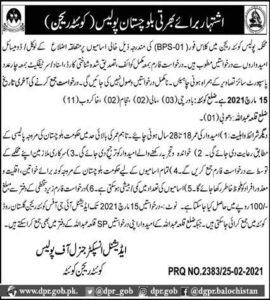 Balochistan Police Jobs 2021 in Quetta Region 4 class