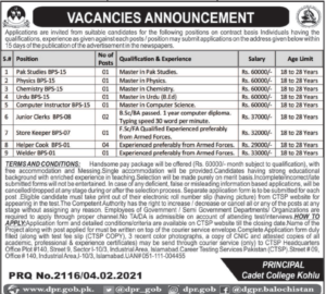 Cadet College Kohlu Balochistan Jobs 2021 via CTSP Teaching