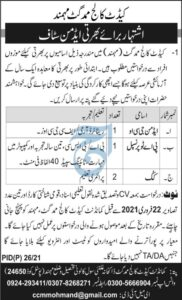 Cadet College Mohmand Ghat Admin Staff Jobs 2021 PA to Principal