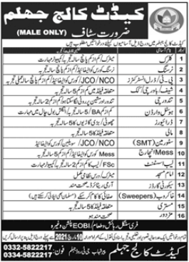 Clerk-Nursing-Security Guard Jobs 2021 at Cadet College Jhelum