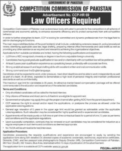 Competition Commission Govt Of Pakistan Jobs 2021 For Law Officers