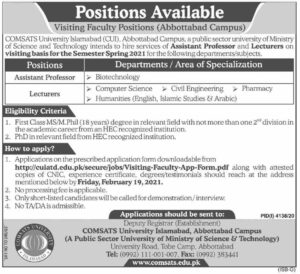 Comsats University Islamabad Visiting Faculty Jobs 2021 for Lecturer Abbottabad