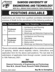 Dawood University of Engineering & Technology Jobs 2021 for Professor