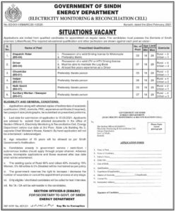 Energy Department Jobs 2021 in Karachi for Driver-Naib Qasid