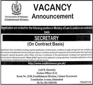 Establishment Division Job 2021 For Secretary in Islamabad