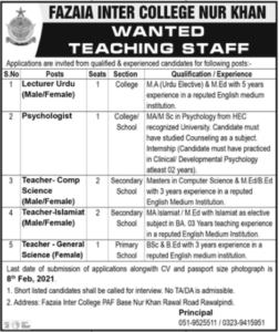 Fazaia Inter College Jobs 2021 For Teaching Staff in Rawalpindi for Lecturer Urdu