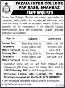 Fazaia Inter College PAF Base Shahbaz Jobs 2021 for Senior Sec Teacher