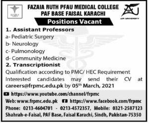 Fazaia Ruth PFAU Medical College Jobs 2021 for Assistant Professor