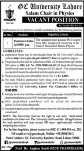 GC University Vacant Position 2021 in Lahore