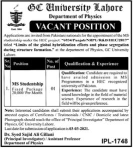 GCU University Job 2021 For MS Studentship at Lahore