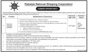 Heneral Manager MR&S Jobs 2021 in Pakistan National Shipping Corporation PNSC