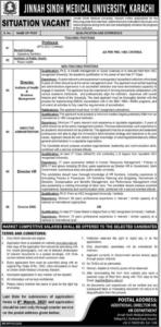 Jinnah Sindh Medical University JSMU Jobs 2021 in Karachi for Director