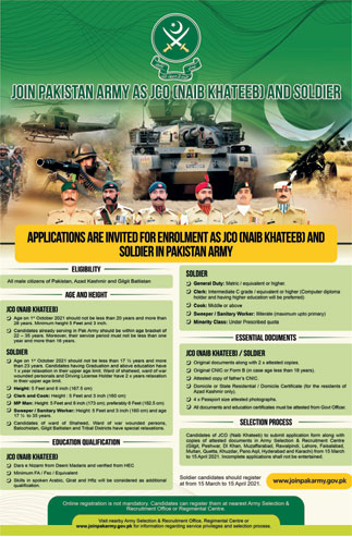 Join Pakistan Army 2021 as JCO Naib Khateeb & Soldier
