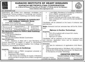 Karachi Institute of Heart Diseases Medical Jobs 2021 For Postgraduate Trainers