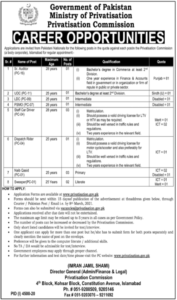 LDC UDC Jobs 2021 at Ministry of Privatization Islamabad