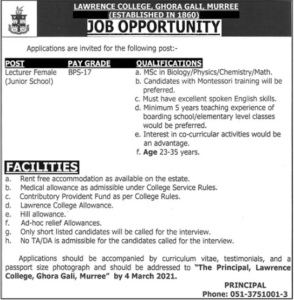 Lawrence College Ghora Gali Murree Jobs 2021 for Lecturer Female