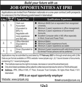 Management Jobs in Islamabad 2021 Policy Research Institute IPRI for Accountant