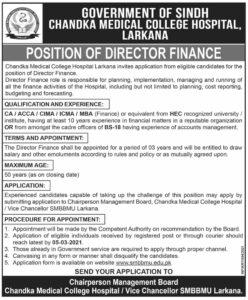 Medical College Hospital Job 2021 For Director Finance in Larkana
