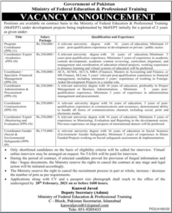 Ministry of Federal Education & Professional Training Jobs 2021 in Islamabad for Program Coordinator