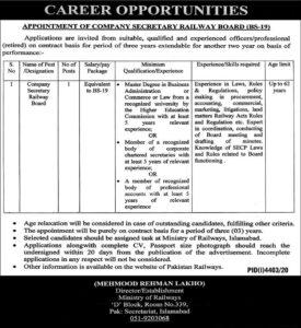 Ministry of Railways News Job 2021 For Company Secretary