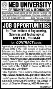 NED University Jobs 2021 at Mithi Thar