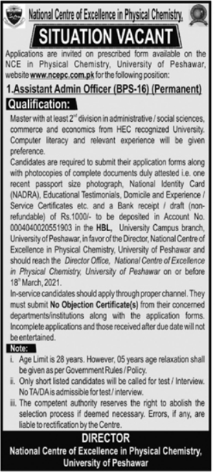 National Centre of Excellence Jobs 2021 in Physical Chemistry Assistant