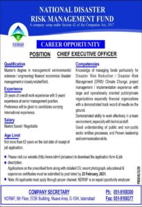 National Disaster Risk Management Fund NDRMF Job 2021 in Islamabad for Chief executive Officer