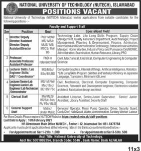 National University of Technology NUTECH Jobs 2021 in Islamabad for Teaching Staffing