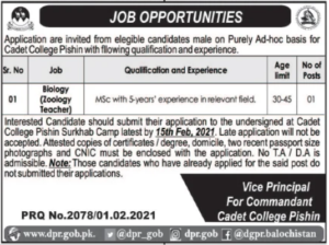 Pakistan Army Cadet College Job 2021 in Pishin Balochistan for Bio Teacher