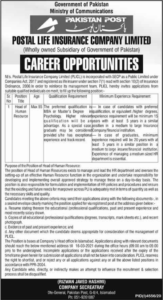 Postal Life Insurance Company Jobs 2021 for Head of Human Resources
