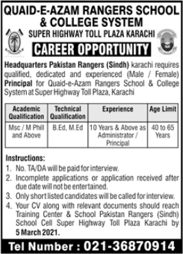 Principal Jobs Male & Female 2021 at Quaid e Azam Rangers School & College System