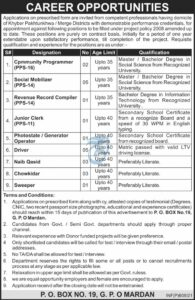 Public Sector Organization Jobs 2021 in Mardan KPK for Driver & Social Mobilizer