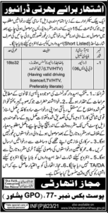 Public Sector Organization Jobs 2021 in Peshawar KPK for Driver