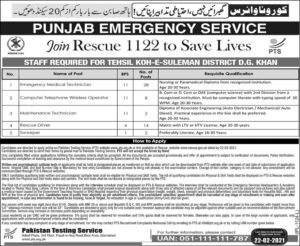 Punjab Emergency Service Rescue 1122 PTS Jobs 2021 for Emergency Medical Technician