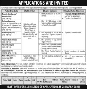Security Intelligence Administration Jobs 2021 in P.O BOx No. 758 Rawalpindi