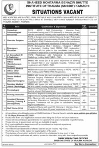 Shaheed Mohtarma Benazir Bhutto Institute of Trauma SMBBIT Jobs 2021 for Energy Physician