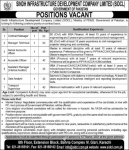 Sindh Infrastructure Development Company Jobs 2021 for Contract Manager